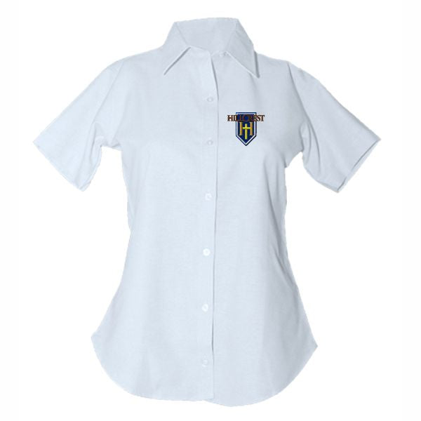 Women's Fitted Oxford Shirt w/Hillcrest logo (Grades 4-12)