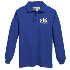 Long sleeve Knit Polo w/St. Thomas embroidered logo