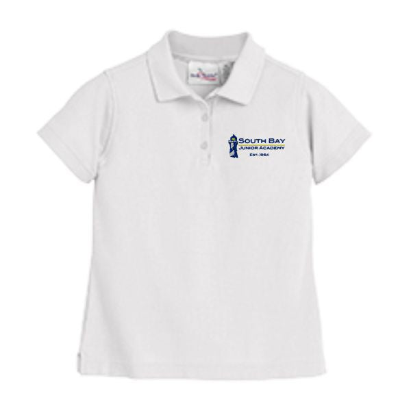 Girls Fitted Knit Polo w/ South Bay Christian School embroidered logo