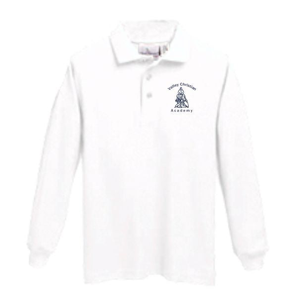 Long Sleeve Knit Polo w/Valley Christian logo