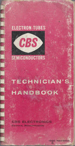 1960 Technician's Handbook CBS Electron Tubes Semiconductors (Spiral-bound)