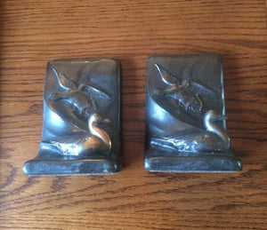 Copper Waterfowl scene Bookends