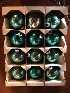 Vintage Christmas Ornaments (1-DOZEN)(Shiny Bright) Turquoise (258 T. BLUE)