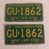 1968 Michigan License Plate Great Lake State (MATCHING PAIR)