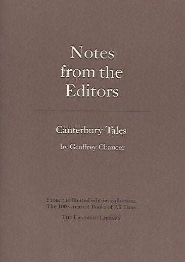 Franklin Library  Notes From the Editors; 100 Greatest Books; Canterbury Tales by Geoffrey Chaucer