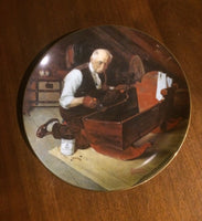 "Norman Rockwell Limited Edition Collector Plate Grandpa's Gift  From Knowles -- 8 1/2"" Gold Rimmed Plate  1984"