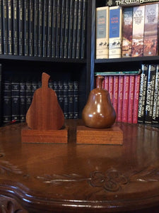 Pear Shaped Wooden Bookends by The Wood Whittlers Gatlinburg, Tennessee