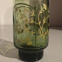 Green Glass Floral Pattern Drinking Glass