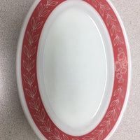 "Vintage PYREX #4 Double Tough-Red Laurel Leaf-Oval Diner-Dinner Plate (11 1/2"" x 8"")"