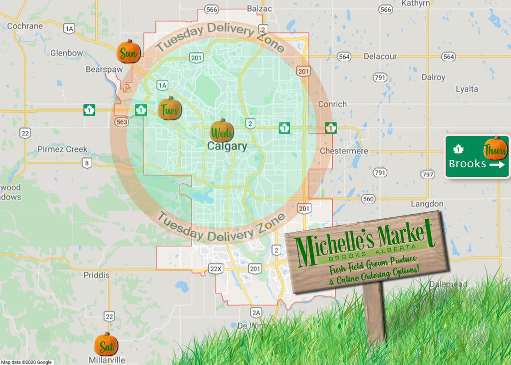 Michelle's Market Calgary - Calgary Farmer's Market Locations - Delivery Zone
