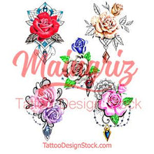 Load image into Gallery viewer, 5 x Realistic roses with precious stone  tattoo design high resolution download