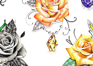 5 x precious stone with realistic rose - download tattoo design