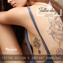 Load image into Gallery viewer, 5 x precious stone with realistic rose - download tattoo design