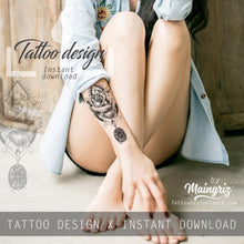 Load image into Gallery viewer, 5 x Realistic sexy roses with precious stone  tattoo design high resolution download