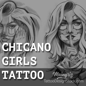 Amazing chicano girls clown tattoo design  high resolution download by tattoodesignstock.com