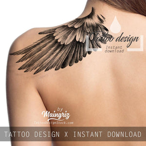 Sexy realistic wings  tattoo design high resolution download
