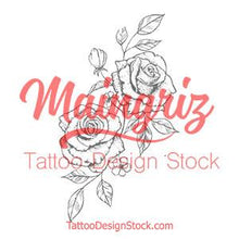 Load image into Gallery viewer, 2 sexy roses tattoo design digital download by tattoo artists