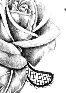Realistic rose with lace tattoo design high resolution download