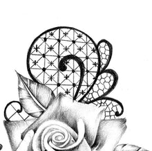 Load image into Gallery viewer, 3 x Realistic rose with lace tattoo design high resolution download