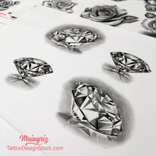 Load image into Gallery viewer, 4 realistic diamonds tattoo design high resolution download by tattoo artists