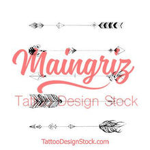 Load image into Gallery viewer, 5 originals arrow tattoo design high resolution download by tattoodesignstock.com