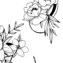 Load image into Gallery viewer, 5 geometric flowers line work tattoo design high resolution download