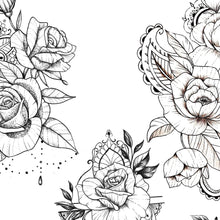 Load image into Gallery viewer, 5 Oriental roses with pearls and mandala tattoo design instant download