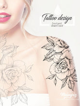 Load image into Gallery viewer, oriental roses mandalas sexy girls tattoo ideas for shoulder