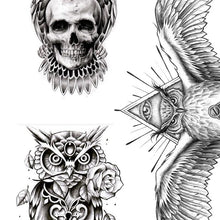 Load image into Gallery viewer, 5 originals owls tattoo design digital download by tattoo artists