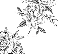 Load image into Gallery viewer, 5 x peony linework tattoo design high resolution download