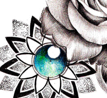 Load image into Gallery viewer, Realistic rose and precious stone and mandala  tattoo design high resolution download