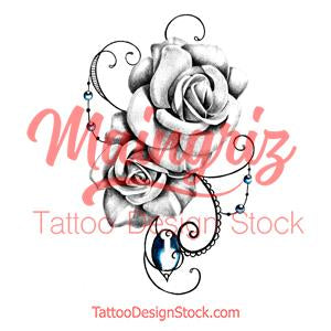 Two realistic roses and precious stone tattoo design high resolution download