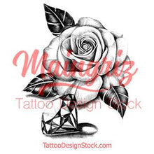 Load image into Gallery viewer, Realistic diamond with rose tattoo design high resolution download