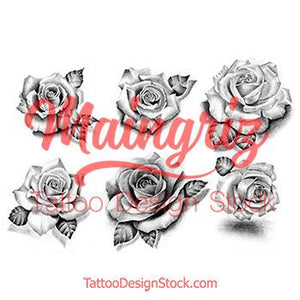 6 realistic roses for build your own sleeve tattoo design