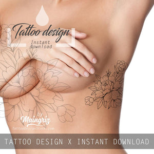 5 x peony linework sideboob tattoo design high resolution download