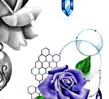 Load image into Gallery viewer, 5 x precious stone with sexy realistic roses  tattoo design high resolution download