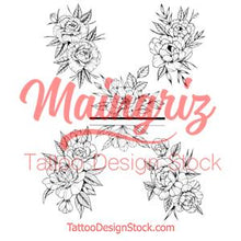 Load image into Gallery viewer, 5 x peony linework half sleeve tattoo design high resolution download
