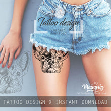 Load image into Gallery viewer, Bulldog mandala tattoo design high resolution download