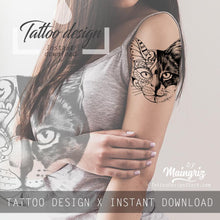 Load image into Gallery viewer, Cat mandala tattoo design high resolution download