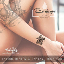 Load image into Gallery viewer, Crown tattoo design high resolution download