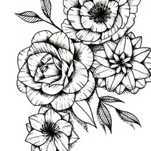 Load image into Gallery viewer, Sexy roses line work Tattoo design for woman
