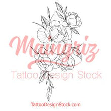 Load image into Gallery viewer, Half sleeve forearm peony tattoo design high resolution download
