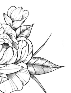 Half sleeve peony sexy tattoo design high resolution download