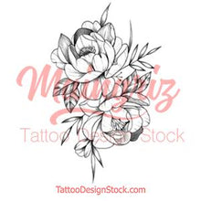 Load image into Gallery viewer, Peony half sleeve tattoo design high resolution download