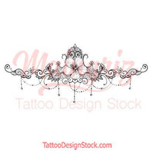 Load image into Gallery viewer, Hibiscus and lace garter tattoo design high resolution download