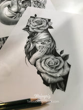 Load image into Gallery viewer, Clown girl california with rose tattoo design references
