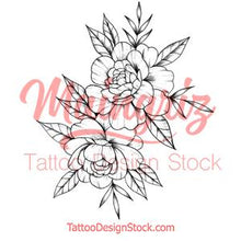 Load image into Gallery viewer, Linework peony sexy tattoo design high resolution download