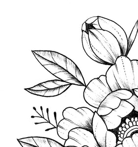 Linework peony tattoo design high resolution download