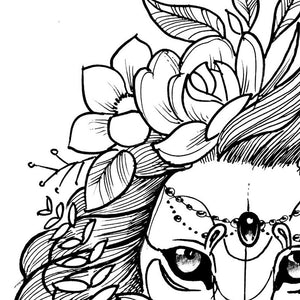 Lion flowers line work tattoo design high resolution download