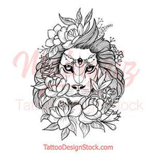 Load image into Gallery viewer, sexy lion and flowers half sleeve tattoo design references created by tattoo artist